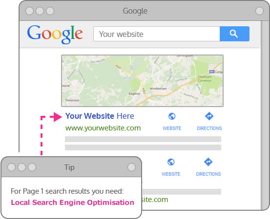 SEO Dorking showing your company in the Map Pack